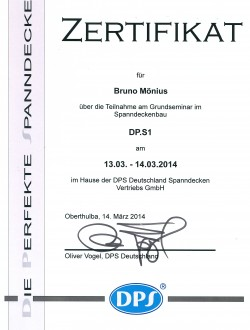 Urkunde DPS Spanndecken
